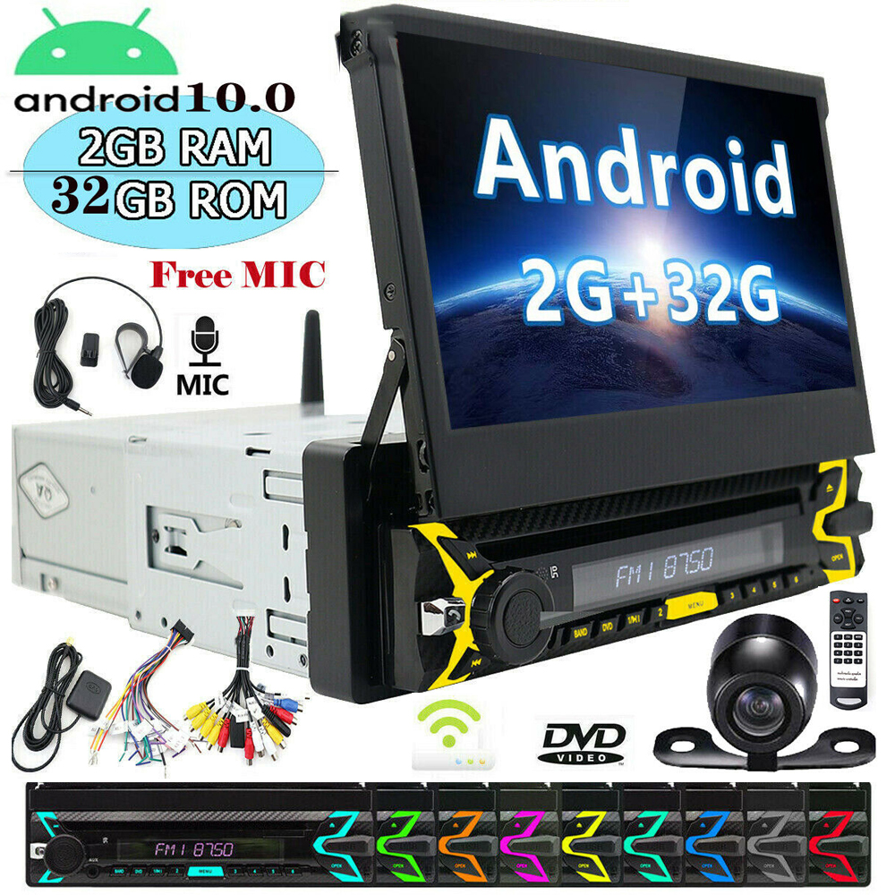 Android 10.0 For Universal 1 Din Car DVD Player HD Car Radio GPS Navigation Car Stereo with Bluetooth+Wifi+USB+FM+Rear camera image