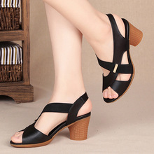 Woman Sandals Fish Mouth One Coarse With High With Sandals