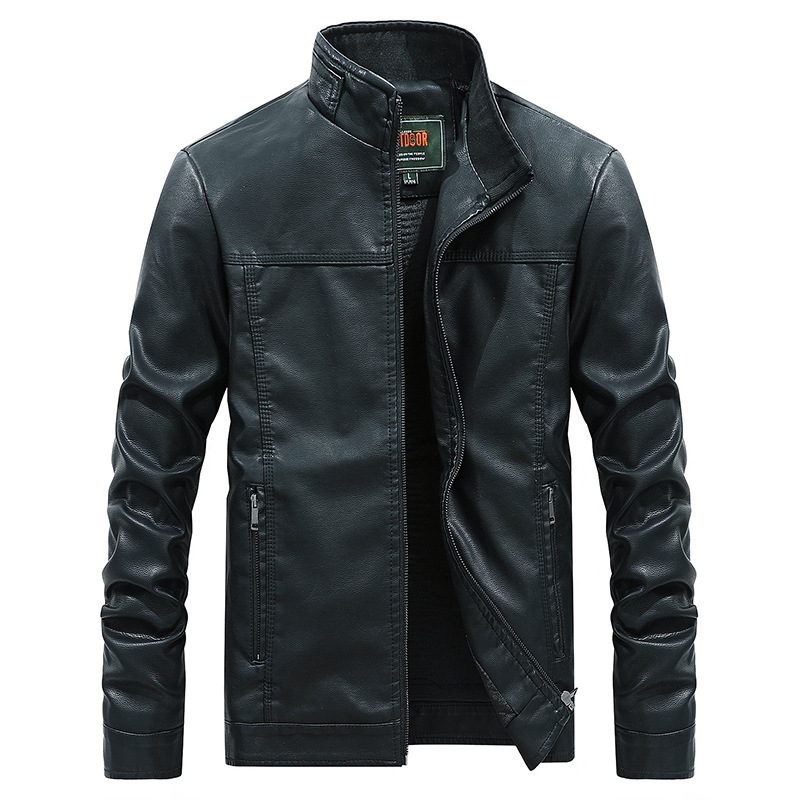 MEN'S Leather Coat New Style PU Leather Fashion Casual Simple Stand Collar Leather Jacket AliExpress-