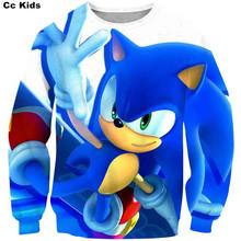 Fajny chłopak 3D cartoon Sonic jeż dzieci bluzy topy dziewczyny rodzina koszule bluzy Mario bluza jesień ubrania dla dzieci tanie tanio PINSHUN without CN (pochodzenie) Na co dzień Poliester spandex Pasuje prawda na wymiar weź swój normalny rozmiar REGULAR