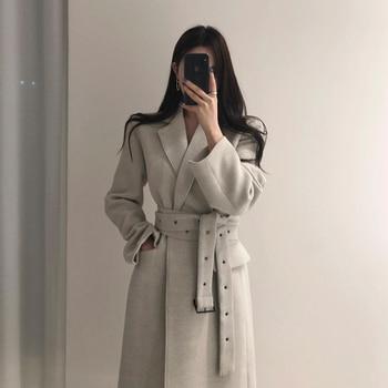Abrigos de lana larga de invierno de alta calidad para mujer con cinturón, abrigos de moda con cordones para mujer