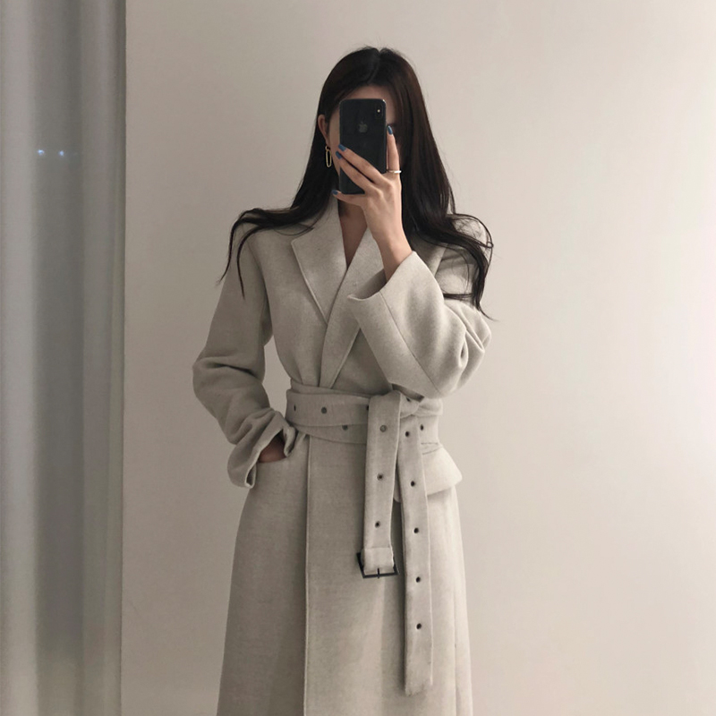 High Qulity Woman Coats Winter Wool Long Coat With Belt Office Lady Fashion Lace Up Coats Outerwear