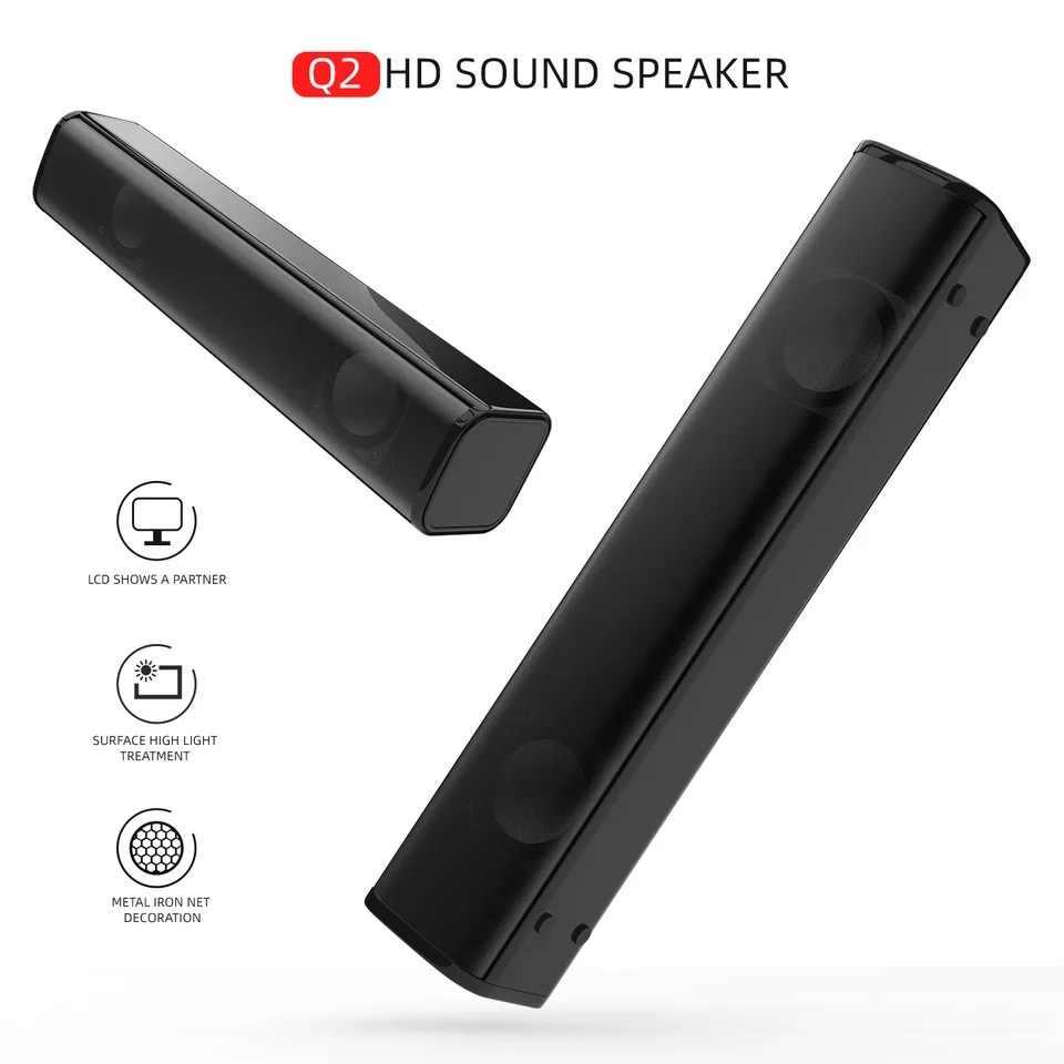 Home desktop computer USB powered home TV speaker 3.5mm audio jack long strip notebook subwoofer audio subwoofer