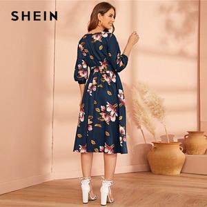 Image 5 - SHEIN Green Abaya Elastic Waist Belted Floral High Waist Dress Women Spring Autumn Bishop Sleeve Flared Elegant Long Dresses