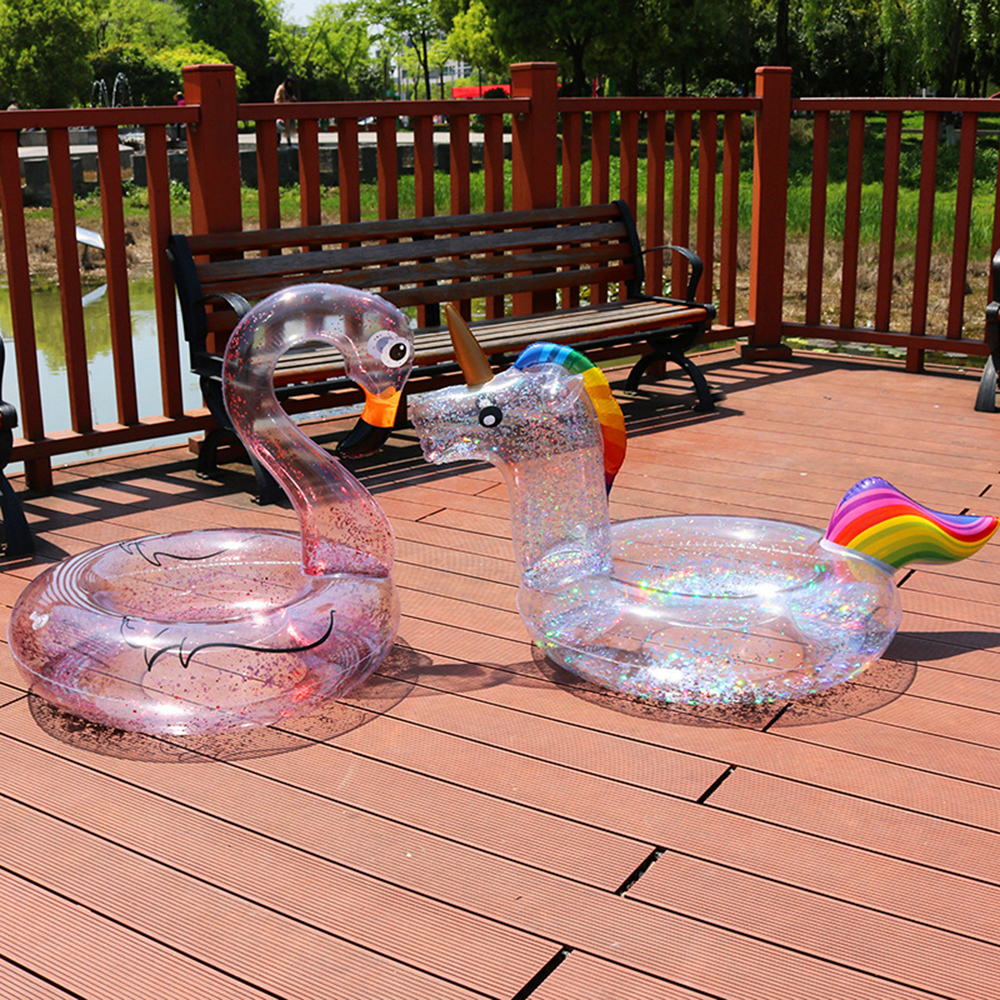 Transparent Sequin Inflatable Flamingo Rainbow Unicorn Pool Float Swimring Swimming Float Tube Circle Pool Summer Party Pool Toy