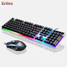 Wired keyboard and Mouse Set USB Mechanical Gaming keyboard with backlight keyboard Wired Gaming Mouse For ASUS/Dell PC Laptop sades wired usb computer gaming metal mechanical keyboard and mouse set colorful backlight keyboard e sports gaming mouse combo