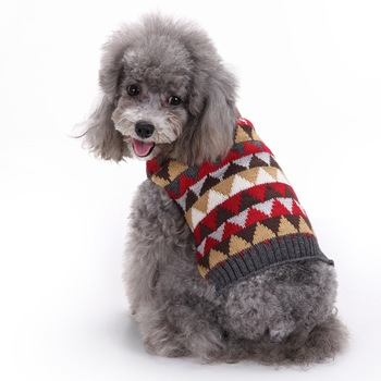 2020 Plaid Pet Clothes Autumn and Winter for Small Medium Dogs French Bulldog Dog Sweater Plaid Designer Clothes image