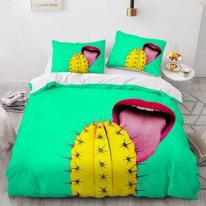 Комплект постельного белья, пододеяльник с 3D рисунком, цвет зеленый, размеры King/Queen/Single Size, домашний текстиль