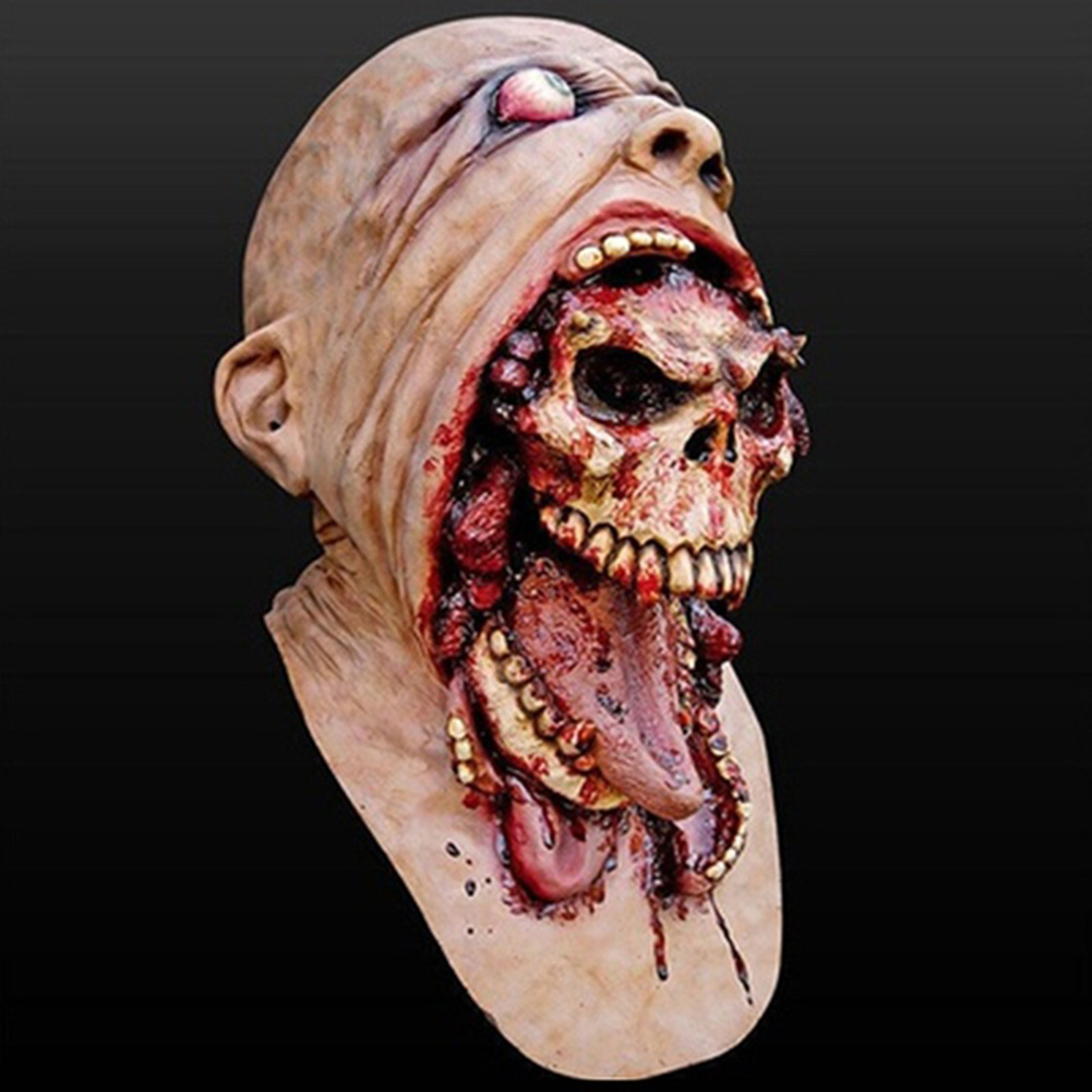 HOT SALE Melting Face Latex Adult Bloody Zombie Mask Halloween Scary Cosplay Prop Costume 3