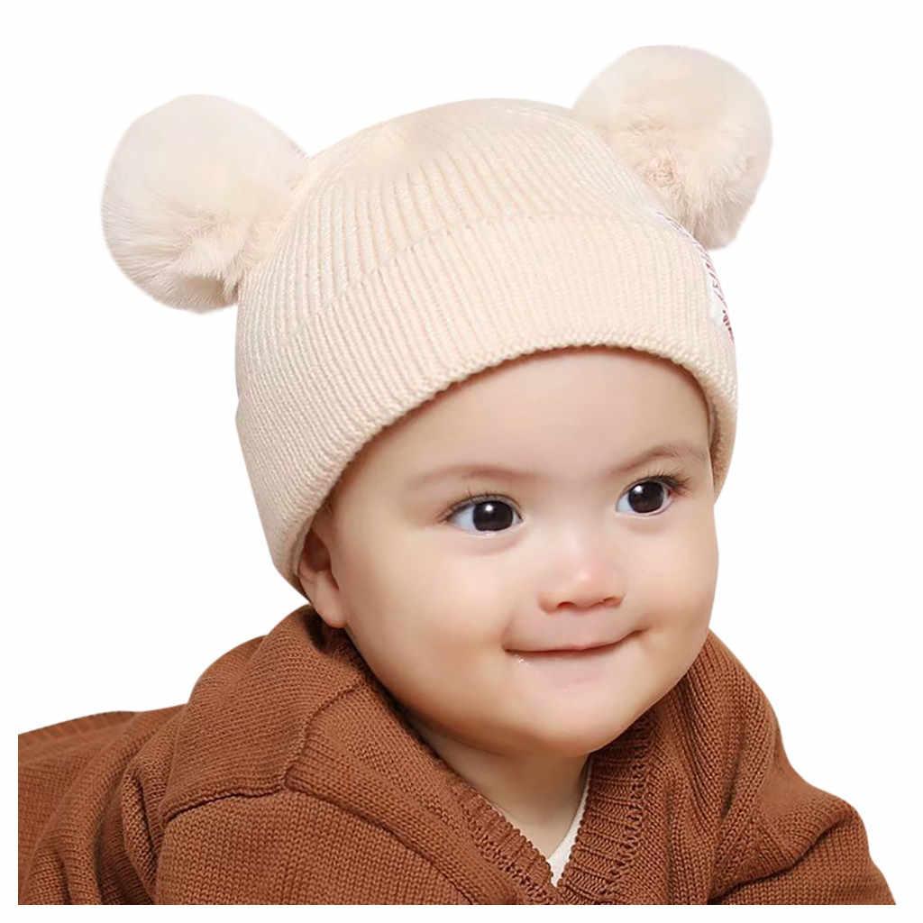 Winter Baby Boy Girl Hat Cute Bear Toddler Earflap Beanie Warm Crochet Knit Cap Solid color double ball cap baby warm winter hat