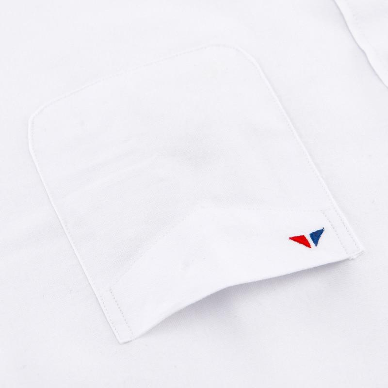 Image 3 - メンズ正規フィット長袖固体オックスフォードコットンシャツ単一のパッチポケット丸いバレル袖口厚いカジュアルボタンダウンシャツカジュアル シャツ   -