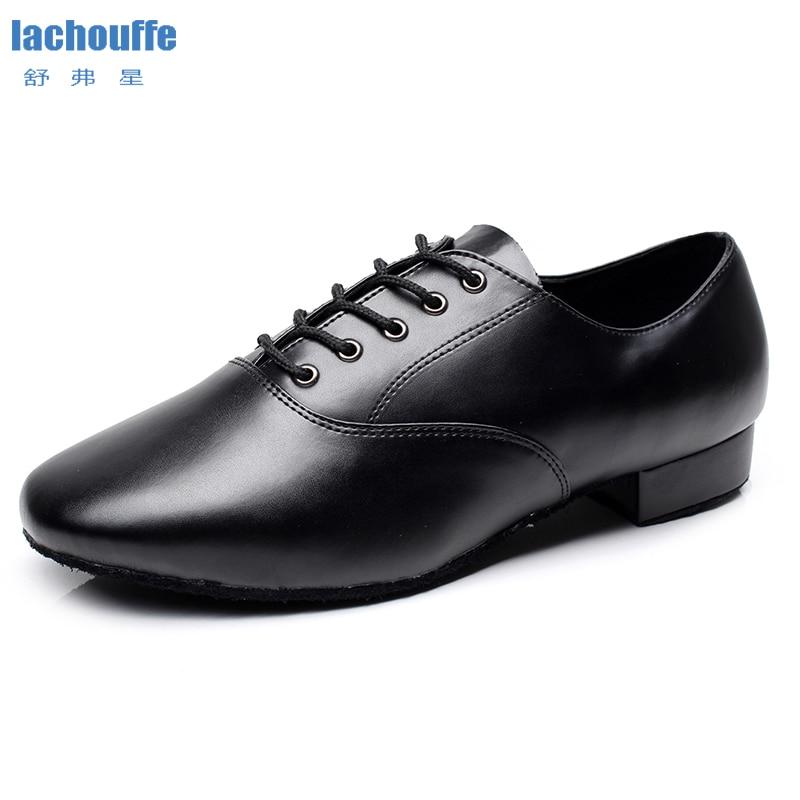 Men Latin Dance Shoes Black Geniune Leather Jazz Dancing Shoes For Mens Flat Heel 2.5/4cm Mordern Salsa Tango Shoes For Boys