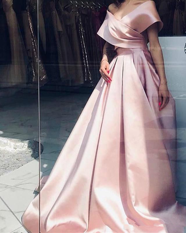 Gorgeous A Line Simple Pink Prom Party Gowns Long Off The Shoulder V Neck Girl Formal Evening Dresses 2020 Sweep Train Customize