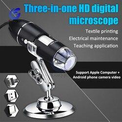 1600X/1000X/500X mikroskop USB MICRO TYPE-C 3w1 cyfrowy elektroniczny mikroskop 30W aparat Stereo endoskop lupa mikroskop
