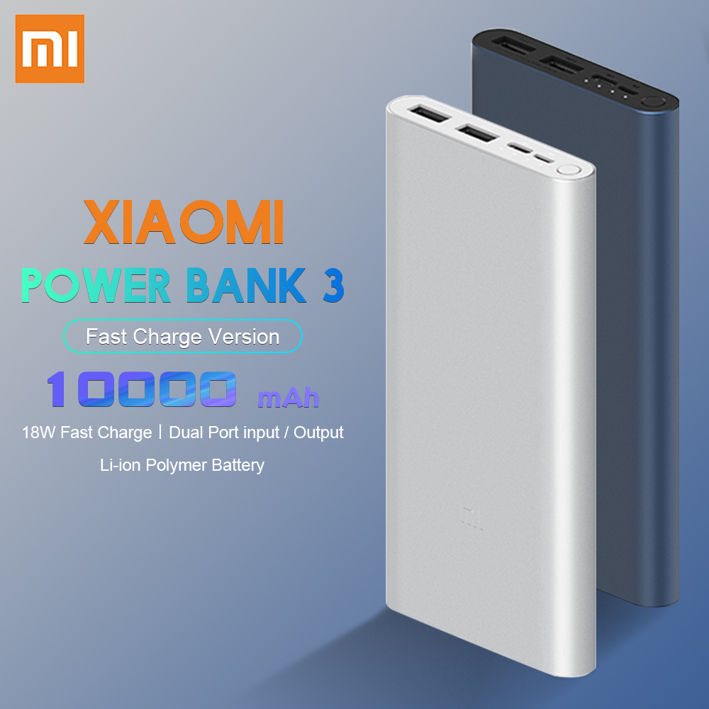<font><b>Xiaomi</b></font> Original <font><b>Power</b></font> <font><b>Bank</b></font> <font><b>3</b></font> <font><b>10000mAh</b></font> 18W Two-way Quick Charge USB-C Dual Input Output Powerbank PLM12ZM For Phone image
