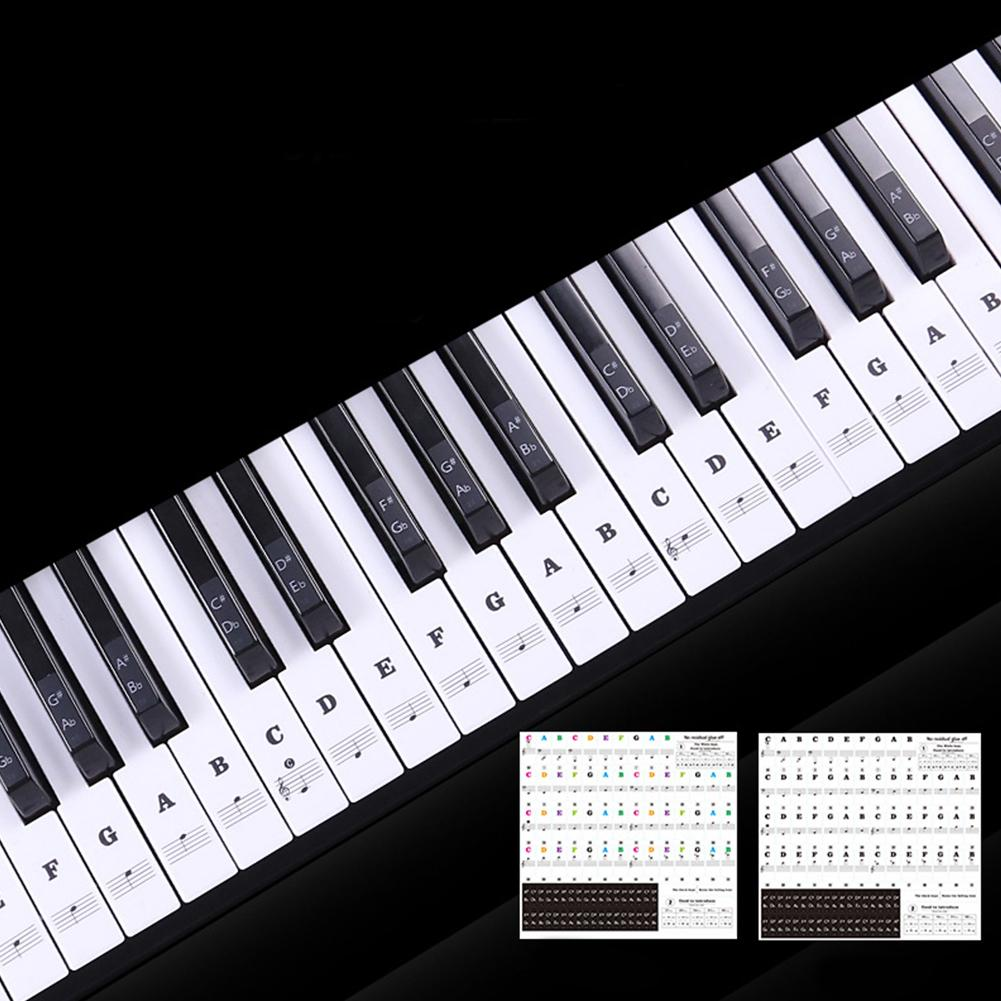 88 Keys Transparent Piano Keyboard Name Stickers 54/61/88 Key Electronic Keyboard Piano Sticker Stave Note Music Decal Label