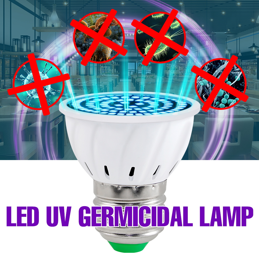 E14 LED UV Desinfection Lamp E27 Led Germicidal Light UVC Lamp Sterilizer GU10 LED Ultraviolet Light Bulb MR16 48 60 80leds B22