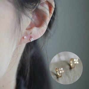 customized Mini four leaf small flower earring pure 9K GOLD zircon temperament simple small ear buckle Earring