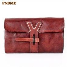 PNDME Ретро дизайнерская женская сумка-клатч из натуральной кожи ручной работы, роскошный высококачественный кошелек из бычьей кожи, с карманом для карт, женский кошелек