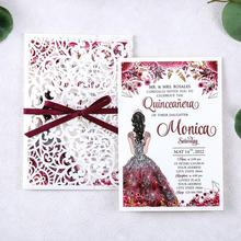 Rose Invitations-Cards Wedding Envelopes Laser-Cut Hollow with Ribbon And 1pcs
