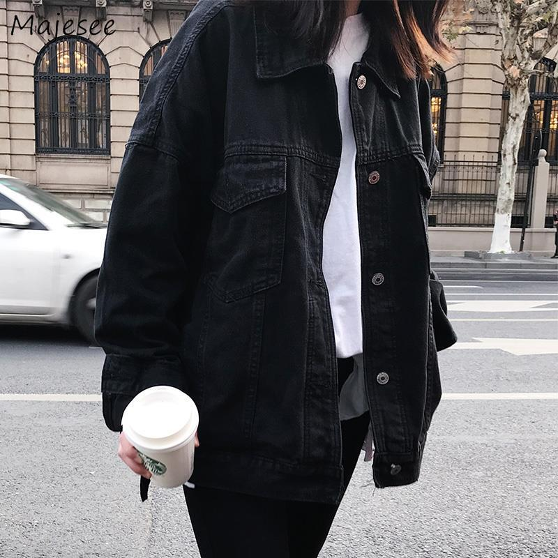Denim Jacket Women Black Solid Simple All Match Casual Loose Slim Womens Jackets And Coats Harajuku BF Vintage Streetwear Chic