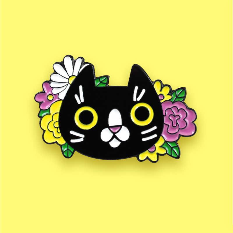 Flower Pattern Cat Enamel Pin Badge Black UK Seller