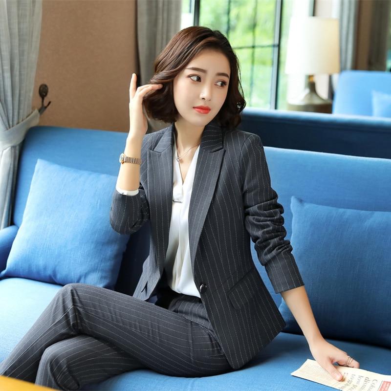 Female elegant Gray Black Stripes Women's Pants Suit trouser Blazer costumes jacket Suits ladies office wear uniforms 2piece set