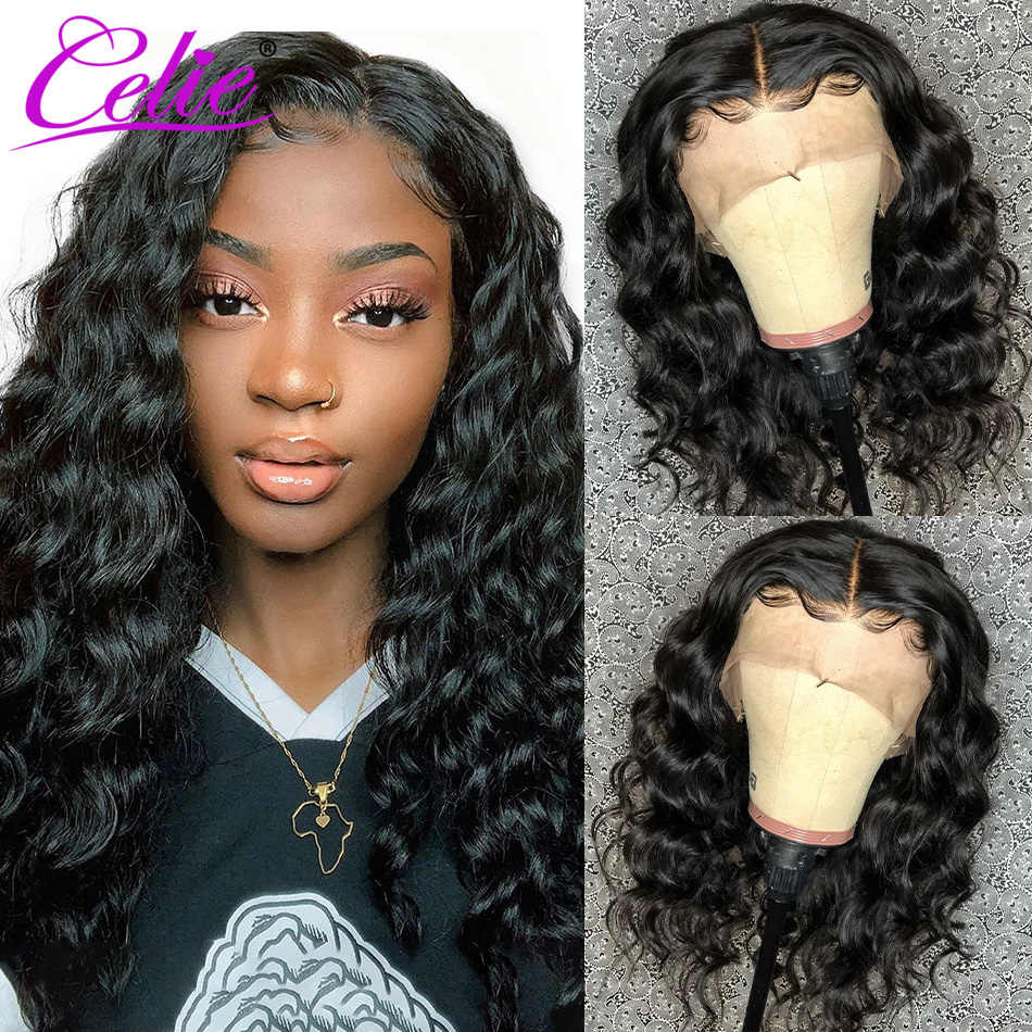 Celie Brazilian Loose Deep Wave Wig Lace Front Human Hair Wigs Pre Plucked 360 Lace Frontal Wig With Baby Hair Human Hair Wigs