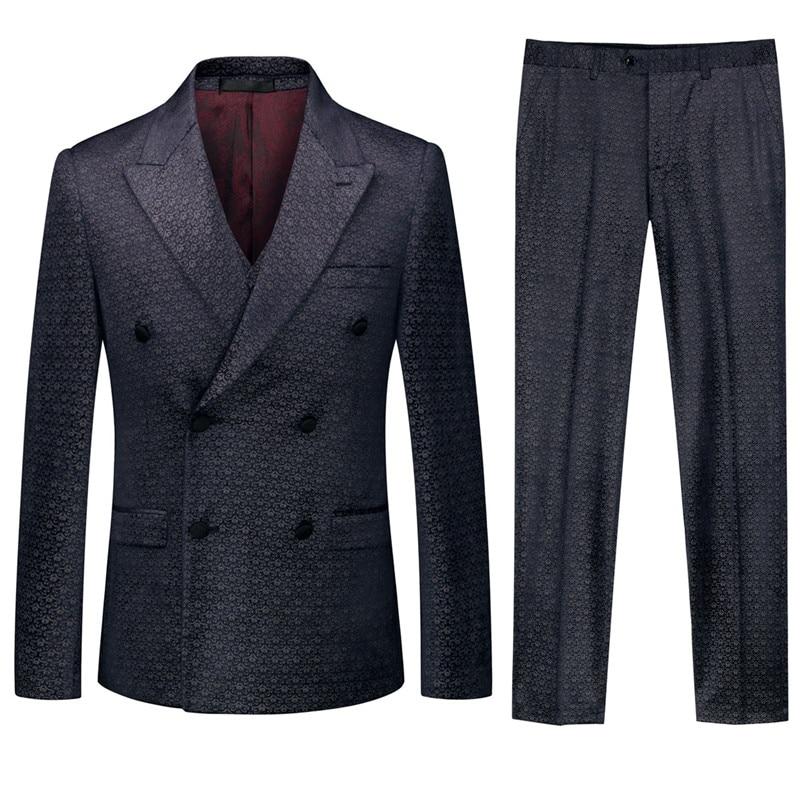 17.1 3,,99,Blazers Pants Vest Set Men`s Print Double-Breasted Suit 3 Piece Set Fashion Slim Wedding Banquet Formal Gown Set
