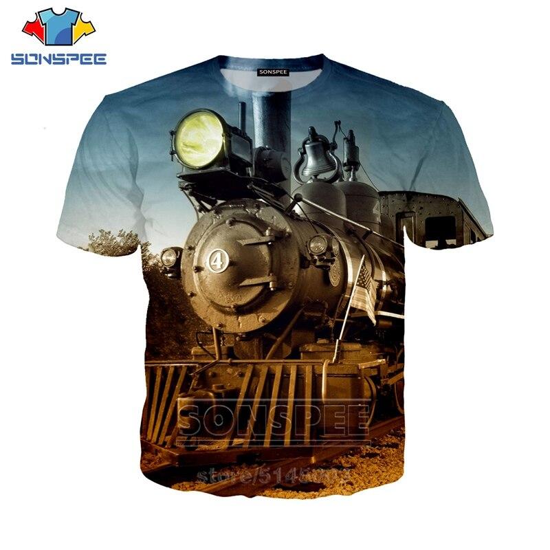 SONSPEE 3D Print Car Steam Engine T Shirt Men Women Train Tshirt Mechanical Tees O Neck Men's T-shirts Beach Unisex Clothes C136