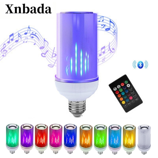 Smart E27 8W LED Bulb RGB Light Bluetooth Audio Speaker LED Light Bulb Music Playing Dimmable Light with 24 Keys Remote Control
