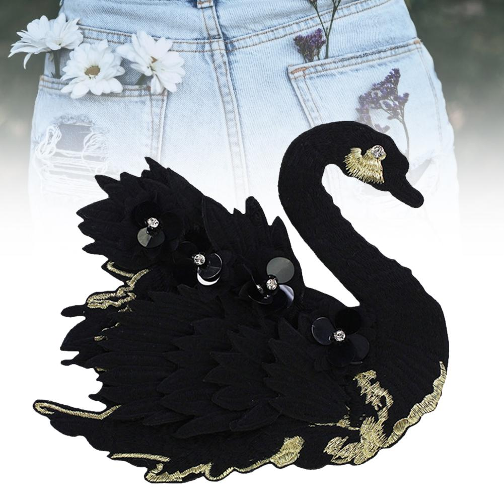 3D Flower Beaded Swan DIY Embroidery Patch Applique Clothing Hat Pants Sticker Cute Patches On Clothes DIY Accessory