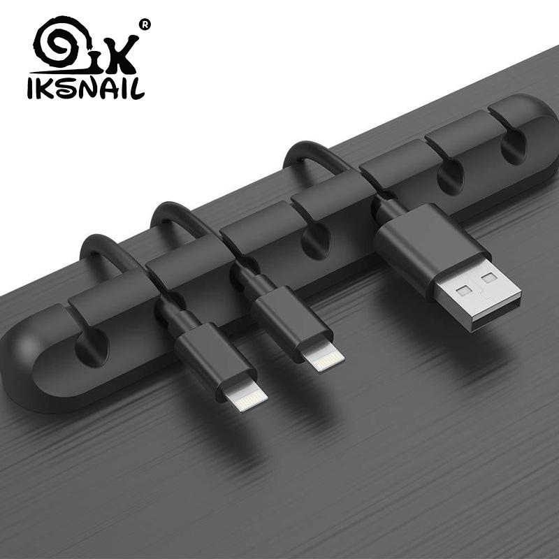IKSNAIL Cable Holder Silicone Cable Organizer Flexible USB Winder Management Clips Holder For Mouse Keyboard Earphone Headset image