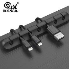 Iksnail cabo titular silicone cabo organizador flexível usb winder gestão clipes titular para mouse teclado fone de ouvido