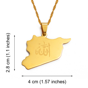 Image 2 - Anniyo Country Map Syria Pendant Witk Allah Name Gold Color Syrians Maps Necklace Jewelry Gifts #020121