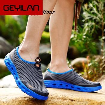 2019 Summer Men Shoes Breathable Men Casual Shoes Flat Soft Mesh Male Sneakers KA1164