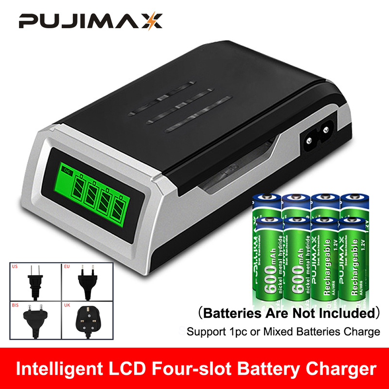 PUJIMAX LCD-002 LCD Display With 4 Slots Smart Intelligent Battery Charger For AA AAA NiCd NiMh Rechargeable Batteries