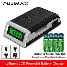 Pujimax carregador de baterias inteligente, tela lcd com 4 espaços, para pilhas recarregáveis aa/aaa, nicd nimh
