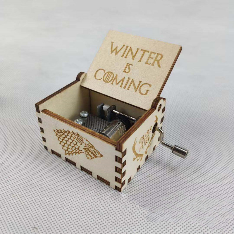Hand Cranked wooden Music Box Thrones Game Wars Star Christmas new year birthday Queen Theme Castle Sky 5