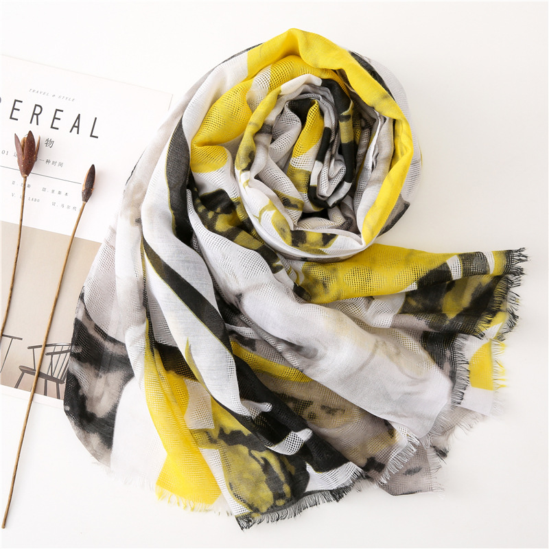 KYQIAO шарф женский Chinese hijab scarf winter scarf women long yellow ink and wash scarf Sjaal Muslim Hijab шарф женский