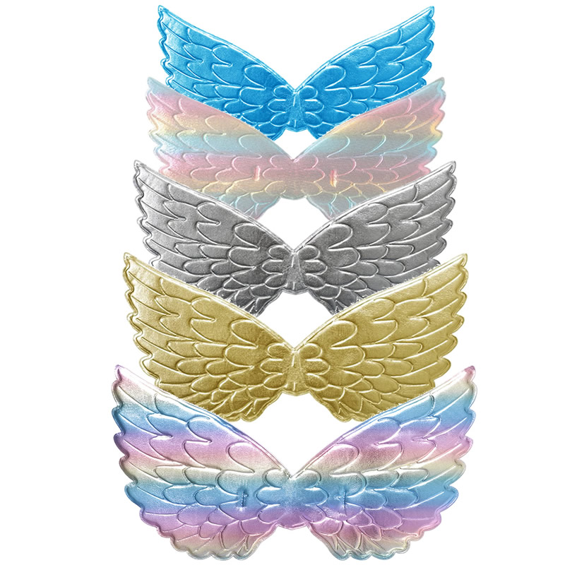 Girls Unicorn Birthday Party Accessories Rainbow Wing Halloween Headband Colorful Wig Kids Vampire Hairband Children Cosplay Set