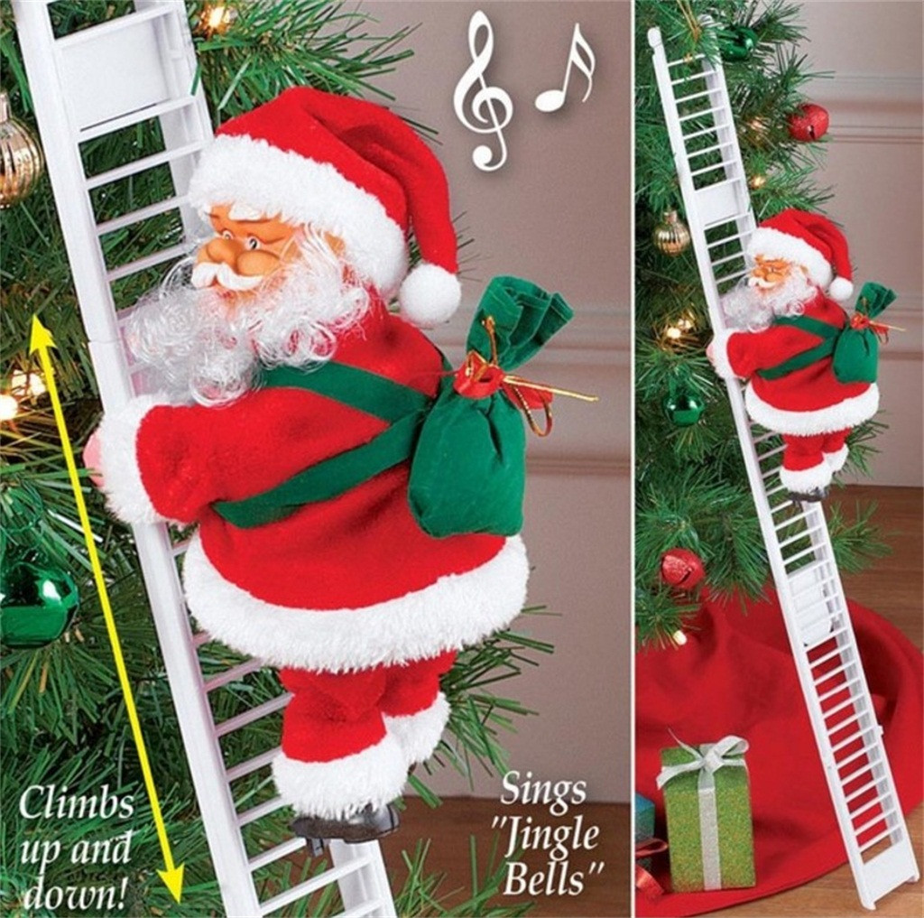 Lovely Christmas Santa Claus Toys Electric Climb Ladder Hanging Decoration Christmas Tree Ornaments Funny New Year Kids Gift