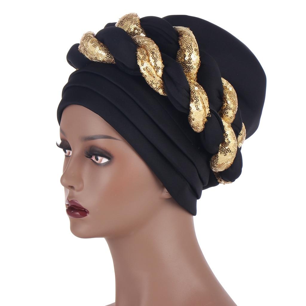 Najnowsze błyszczące cekiny czapka Turban dla kobiet gotowe kobiece głowy okłady afrykańskie Auto Geles Aso Oke Headtie już wykonane opaski