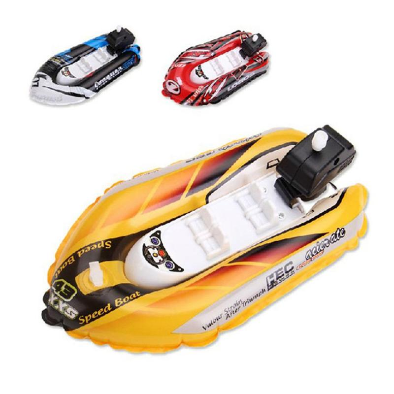 Baby Kid Clockwork Wind Up Inflatable Boat Ship Play Water Bathroom Bath Toy