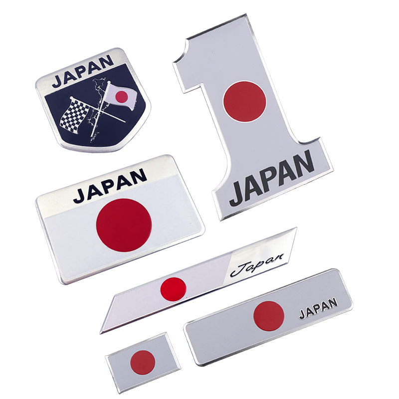 Car Styling 3D Aluminum Japanese Flag Emblem Badge Car Sticker Japan Auto Decal Motorcycle Automobile Decoration Accessories