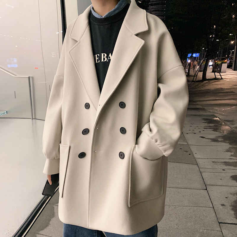 Длинное шерстяное пальто, мужское модное однотонное повседневное шерстяное пальто в Корейском стиле, Мужское пальто, уличная свободная шерстяная куртка для пары