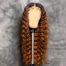 Kolorowe Ombre ludzkich włosów peruka 2X6 naturalne głębokie kręcone zamknięcie koronki ludzkich włosów peruki dla czarnych kobiet czarne włosy brazylijskie Remy