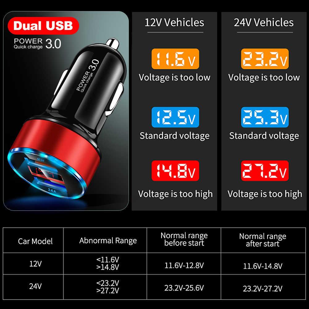 LED Display Pengisian Cepat 3.0 Mobil Charger Mobile Phone QC3.0 Cepat Mobil Ganda USB Charger Mobil Charger untuk Samsung huawei FCP Xiaomi