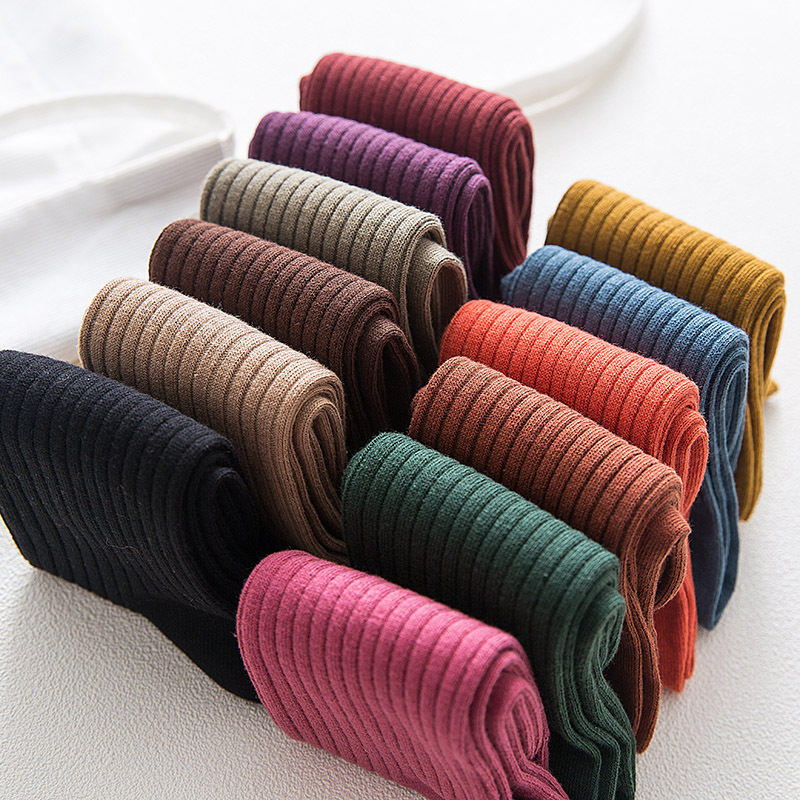 2019 Autumn Winter New Women Socks Cotton Motion Comfort Casual Deodorant Antibacterial Non-slip Solid Color Crew Socks Women