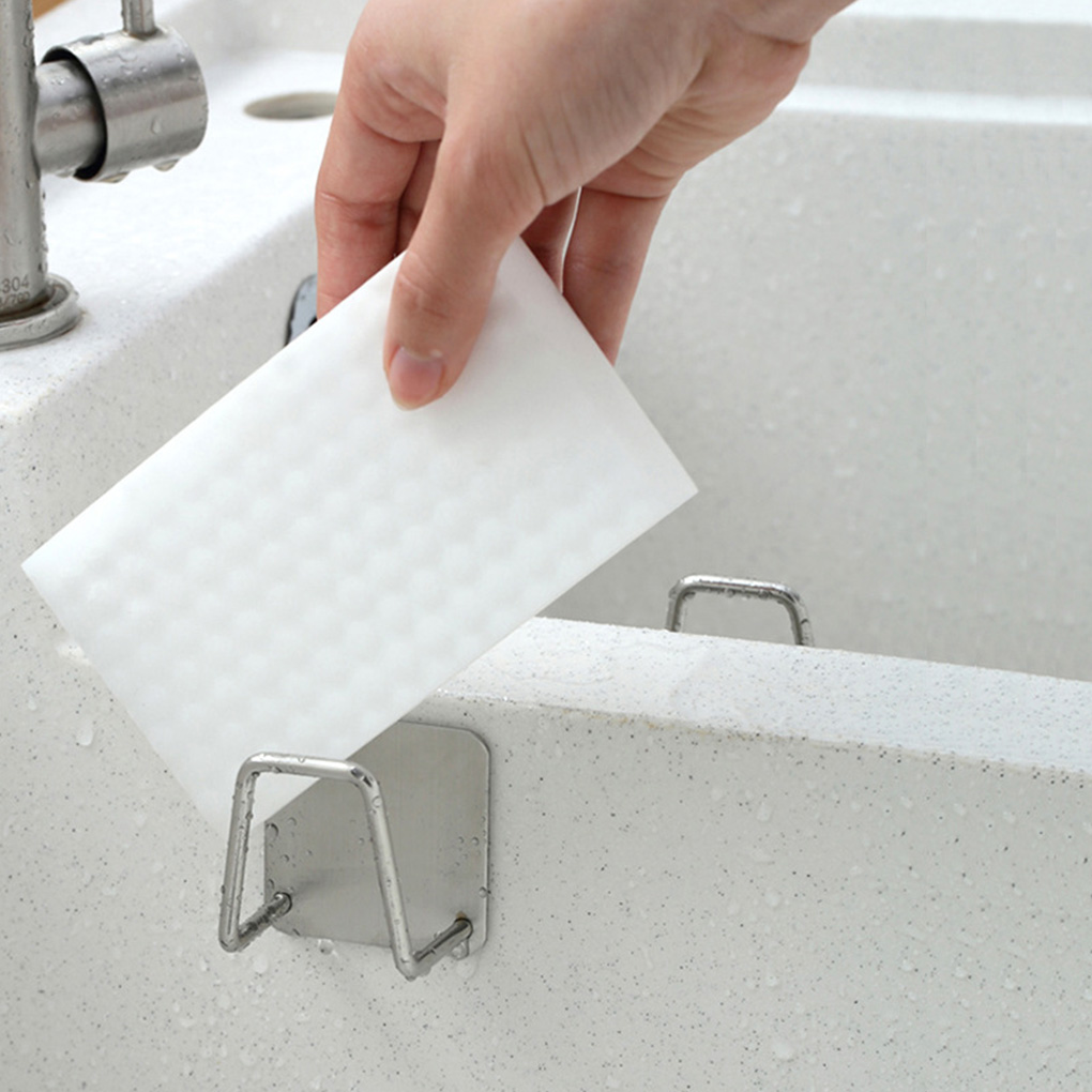 Kitchen 304 Stainless Steel Sponges Holder Self Adhesive Sink Sponges Drain Drying Rack Kitchen Sink Accessories Organizer